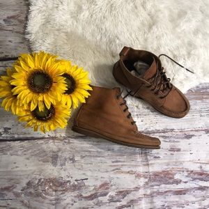 J. Crew ankle brown leather boots